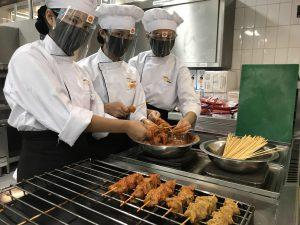 Students preparing food